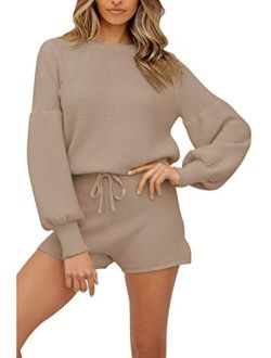 Women's 2 Piece Knitted Sweatsuit Long Sleeve Sweatshirt with knitted lounge set