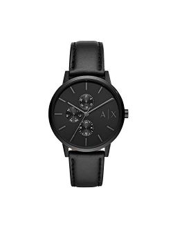 Men's Cayde Black Leather Strap Watch 42mm Ax2719