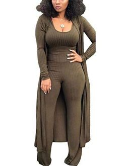LKOUS 3 Piece Suit for Women's Solid Long Sleeve Open Front Long Coat and Crop knitted lounge set
