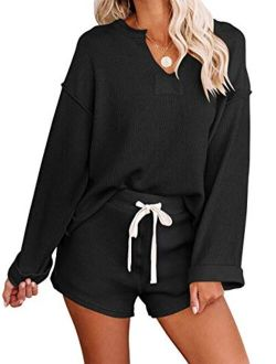 Women's Casual V Neck Long Sleeve Solid Color knitted lounge set
