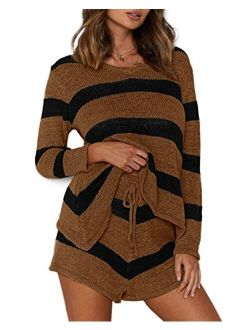 Women's Summer Lounge Sets Knit 2 Piece Outfits Tank Tops and Shorts knitted lounge set