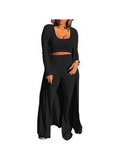 Women Sexy 3 Piece Outfits - Crop Top Long Kimono Cardigan Cover up and Bodycon knitted lounge set S XXL