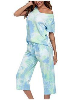 ENJOYNIGHT Women's Tie Dye Printed ounge Pajama Sets Sleepwear Top with Capri Pants