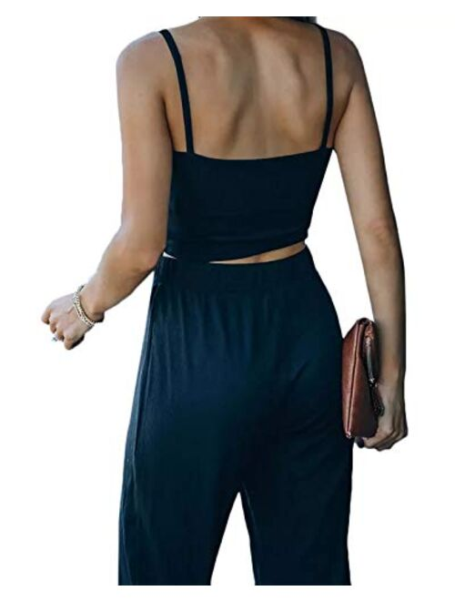 Meikulo Women's 2 Piece Outfit Ribbed Cami Crop Loose Joggers Knitted lounge Set
