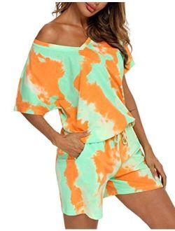 ENJOYNIGHT Women's Tie Dye Printed Pajama Sets Sleepwear Top with Shorts Lounge Sets with Pocket