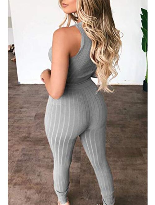 Linsery Women Ribbed Sexy 3 Piece Outfits Crop Tank Top High Waist Bodycon knitted lounge set