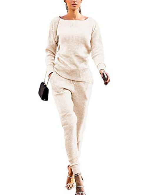 Womens Fall Rib-Knit Long Sleeve Pullover Sweater Top Drawstring Long Pants knitted lounge set