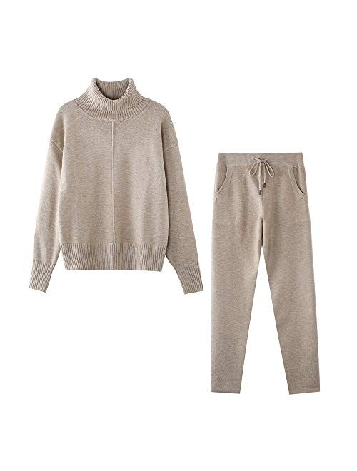 TAOVK Woolen Cashmere Women Sweaters Suits 2 Piece Outfits knitted lounge set