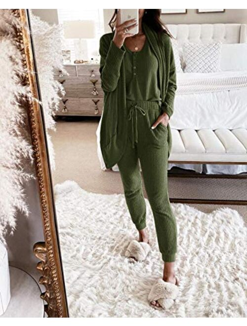 Women 3 Piece Lounge Sets Waffle Henley Tank Top Pajama Pants Joggers Cardigans Outfits knitted lounge set