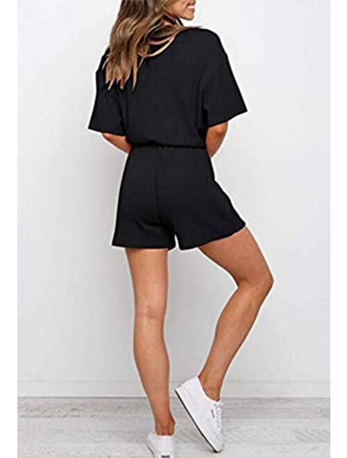 Linsery Women Ribbed Knit Summer Sweatsuit Short Sleeve Top and Shorts Casual Tracksuit Outfit
