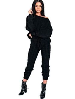 Women Off Shoulder Tracksuit And Oversized Sweatsuit knitted lounge set