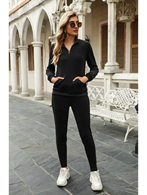 Irevial Women's Zip Up V Neck Crushed Velour Sweatsuits Casual Tracksuit knitted lounge set