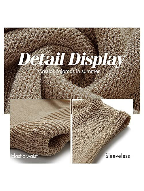 KIRUNO 2021 Women's Sleeveless V Neck Pajama Sets Striped Print Knitted Drawstring Waist Belt Sleepwear Nightwear Suits