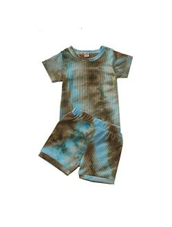 Newborn Toddler Baby Girl Outfit Short Sleeve Tie Dye knitted lounge T-Shirt Top Short 2Pcs Summer Clothes Set