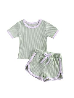 2PCS Baby Boys Girls Ribbed Outfits Stripe Casual T-Shirt Top + Pant Toddler Unisex Cotton knitted lounge Clothes Set