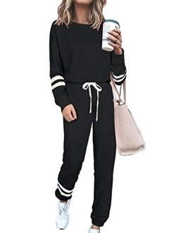 Women's Two Piece Pajamas Set Long Sleeve Sweatshirt With Long Pants Sleepwear With Knitted Lounge Set