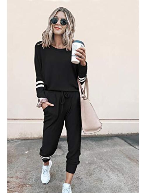 PRETTYGARDEN Women's Two Piece Pajamas Set Long Sleeve Sweatshirt with Long Pants Sleepwear with knitted lounge set