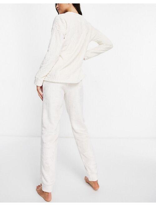 Women'secret cable knit sweatshirt and sweatpants weekend motif lounge set in white
