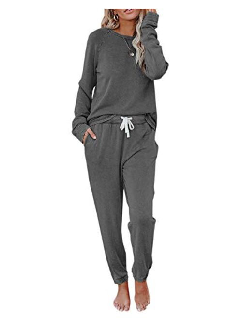 Fessceruna Womens Pajama Sets Long Sleeve Round Neck Top and Pants knitted lounge set
