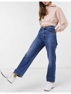 Ribcage Straight Leg Ankle Grazer Jeans In Dark Wash