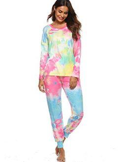 Womens Tie Dye Printed Loose Long Sleeve Tops lounge Pajamas Set