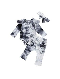 Newborn Baby Boy Girl Fall Winter Outfits Tie Dye Long Sleeve knitted lounge Romper Pants Headband 3Pcs Clothes Set
