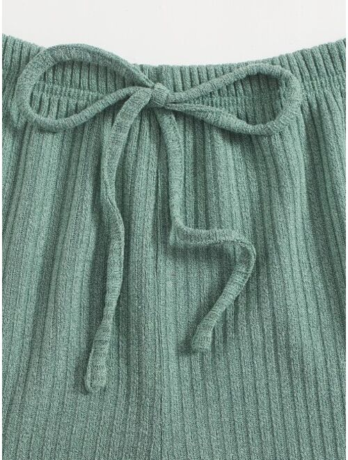 Notched Sleeveless Knot Front knit lounge set