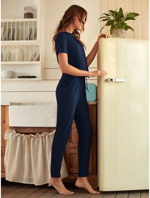 Solid Shorts Sleeve Tee & Pants Lounge Set
