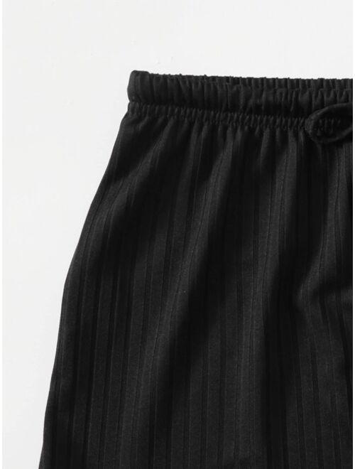Rib Knit Crop Tank Top & Shorts Lounge Set