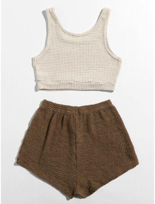 Waffle Knit Tank Top & Shorts Lounge Set