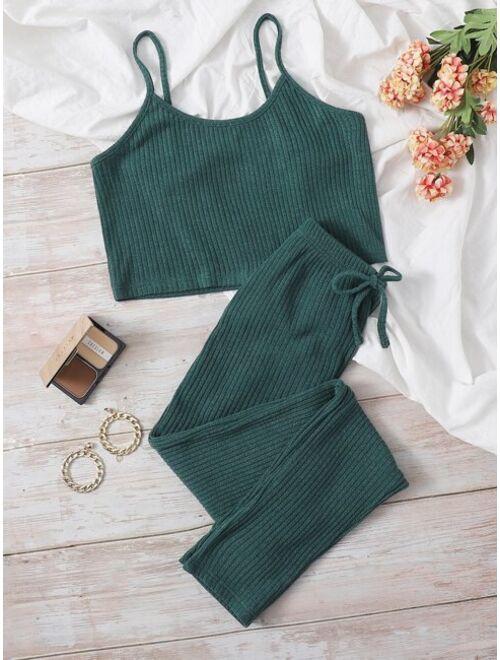 Solid Rib-knit Lounge Set