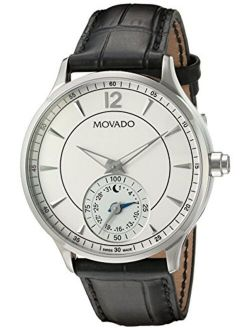 Men's Swiss Quartz Stainless Steel And Leather Watch, Color:black (model: 0660007)