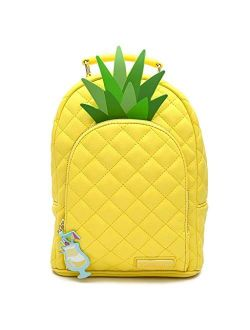 Pool Party Pineapple Theme Faux Leather Mini Backpack