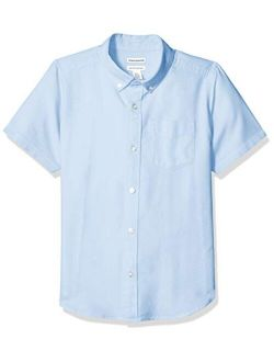Boys' Kids Uniform Short-sleeve Woven Oxford Button-down Shirts