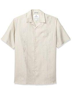 Rand - 28 Palms Men's Relaxed-fit Short-sleeve 100% Linen Embroidered Guayabera Shirt
