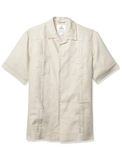 Rand - 28 Palms Men's Relaxed-fit Short-sleeve 100% Linen 4-pocket Pleated Guayabera Shirt