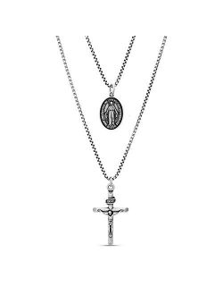 """28"""" Oxidized Stainless Steel Box Chain Cross And Marie Concue Sans Peche Oval Medallion Duo Pendant Necklace For Men"""