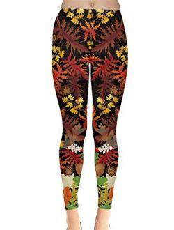CowCow Womens Pattern Fallen Autumn Warm Shades Leaves Leggings