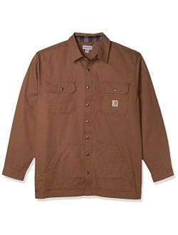 Men's Loose Fit Ripstop Flannel-lined Snap-front Shirt Jacket