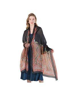 DANA XU 100% Pure Silk Large Size Women Soft Pashmina Shawls and Wraps