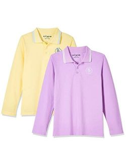 Kids Unisex 2 Packs Long Sleeve Pique Polo Shirts For Boys And Girls 4-12 Years