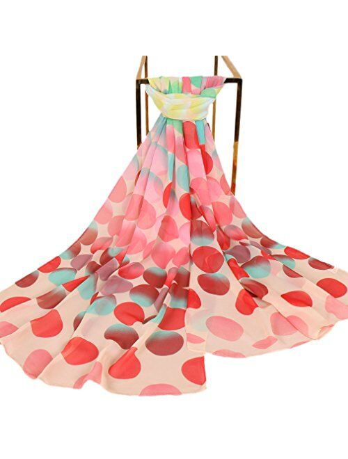 LMVERNA Birds Printed Scarf Women's Floral Scarves Chiffon Scarves Popular Shawls