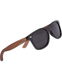 WOODIES Polarized Walnut Wood Sunglasses for Kids | Black Polarized Lenses and Real Wooden Frame | 100% UVA/UVB Ray Protection