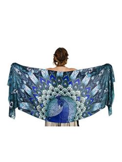 Designer Silk & Cashmere Scarf With Wide Spread Bird Feather Wings