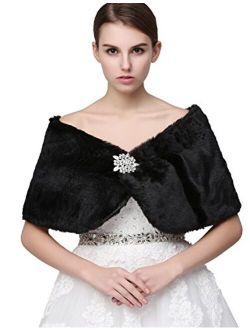 Sarahbridal Women's Shawl Wrap Faux Fur Scarf Stoles for Wedding Dresses