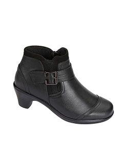 Most Comfortable Bunions Pain Relief 2 Inch Black Low Heels Women's Booties Emma Bioheels