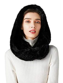 Bellady Women's Soft Faux Fur Infinity Scarf & Infinity Hood Scarf Head Scarf Wrap