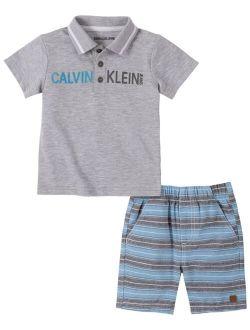 Baby Boys 2-Pc. Logo Polo & Striped Shorts Set