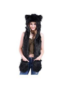 DMJWN Womans Quality Hat Large Great Cap Wear Party Soft Winter Fur Animal Hoods