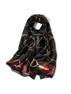 Womens 100% Mulberry Silk Scarf Long Satin Scarf Fashion Pattern Designer Scarf For Hair Ladies Silk Floral Head Scarfs
